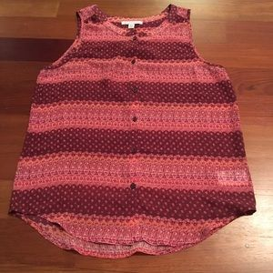 patterned button down tank